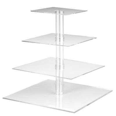 Utenlid 4-tier Square Stacked party cupcake and dessert Tower  Clear Acrylic cake stand