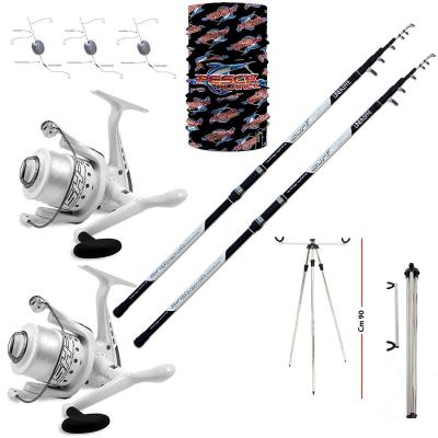 Linea-effe Kit SURFCASTING Composto da : 2 canne Long Cast 2 mulinelli 6000 1 Tripode Porta canne 1 Kit 3 montature 1 pz Bandana